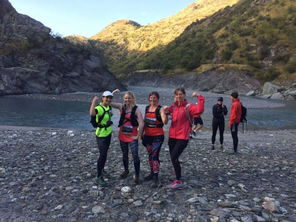 Lauren Harris and friends at the start of the Shotover Moonlight Mountain Marathon 2017.